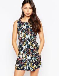 Короткое приталенное платье с бабочками Iska - Темно-синий