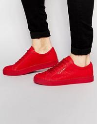 Кожаные кроссовки с отделкой под крокодила Religion - Красный