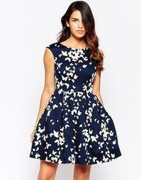 Приталенное платье с принтом бабочек Closet - Темно-синий и белый