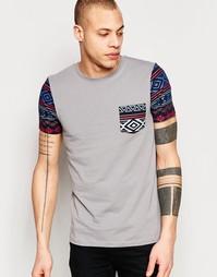 Серая футболка с ацтекским принтом на кармане и рукавах ASOS