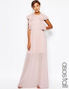 Платье макси с рюшами спереди ASOS TALL - Телесный