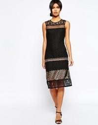 Прямое кружевное платье с отделкой ASOS - Черный