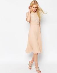 Короткое приталенное платье миди с кружевом и складками ASOS - Blush