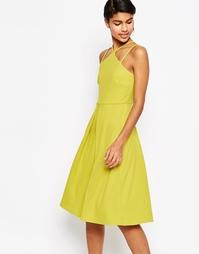Пышное платье миди в рубчик ASOS - Зеленый