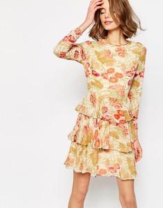 Ярусное платье с цветочным принтом ASOS - Мульти