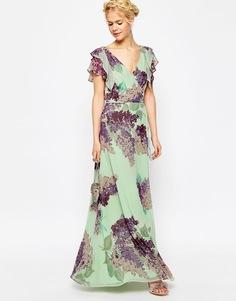 Чайное платье макси с оборкой и цветочным принтом ASOS - Мульти