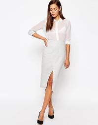 Льняная юбка-карандаш с карманами ASOS - Серебряный