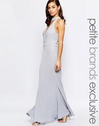 Платье макси с вырезом и завязкой у горловины Jarlo Petite - Серый
