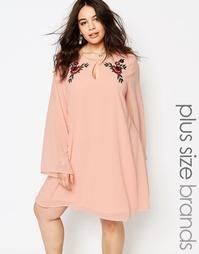 Цельнокройное платье с вышивкой Alice & You - Розовый
