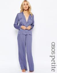 Атласная пижама с топом и широкими штанами ASOS PETITE