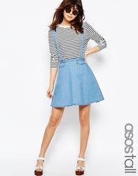 Джинсовая юбка с подтяжками ASOS TALL - Синий