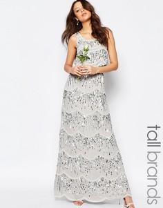 Ярусное платье макси с отделкой Maya Tall - Нежно-серый