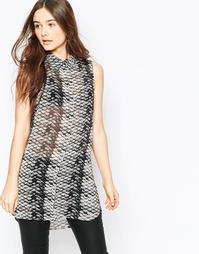 Рубашка без рукавов со змеиным принтом Vila - Черный принт