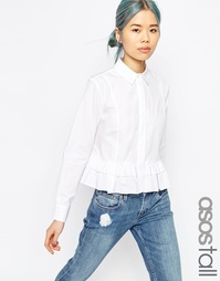 Белая рубашка с рюшами по низу ASOS TALL - Белый