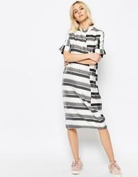 Платье-рубашка миди в полоску с запахом ASOS WHITE - Серая полоска