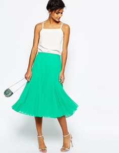 Плиссированная юбка миди ASOS - Зеленый