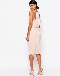 Платье-футляр миди с драпировкой сзади ASOS - Телесный