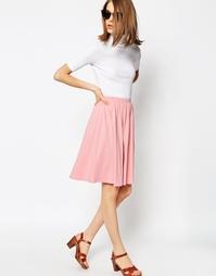 Расклешенная трикотажная юбка миди ASOS - Розовый