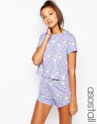Пижамный комплект с принтом кактусов ASOS TALL - Мульти