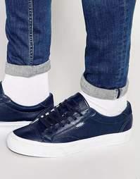 Синие кожаные кроссовки Vans Court V4OWLAM - Синий