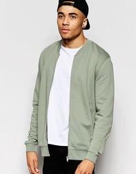 Выбеленная трикотажная куртка‑пилот цвета хаки ASOS - Зеленый