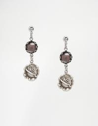 Серьги с розовыми бутонами и черным перламутром Regal Rose TRUE ROMANC