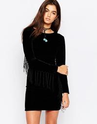 Бархатное платье с бахромой на рукавах Motel Wilona Velvet Underground