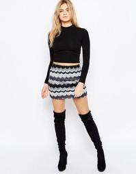 Трикотажная юбка с принтом зигзаг Motel Kimmy - Серый
