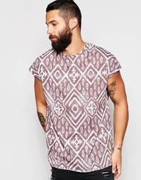 Oversize-футболка без рукавов с принтом в стиле батик ASOS