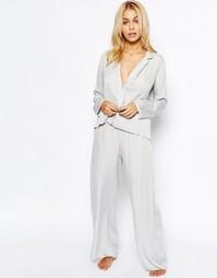 Атласная пижама с топом и широкими штанами ASOS - Серебряный