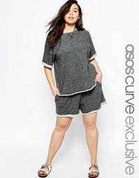 Домашние шорты и футболка из легкого трикотажа ASOS CURVE - Серый