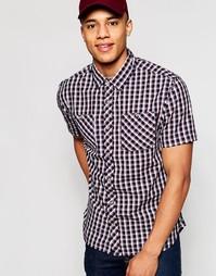 Рубашка в клетку с короткими рукавами D-Struct - Темно-синий