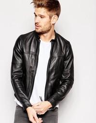 Кожаная куртка на молнии спереди Replay - Черный