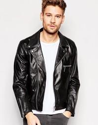 Кожаная байкерская куртка с молниями Replay - Черный