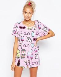 Пижама из шортов и футболки ASOS SMILEY WORLD - Сиреневый