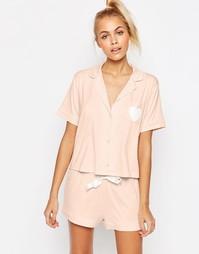 Пижама с рубашкой и шортами Boohoo - Телесный Asos