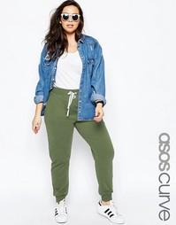 Трикотажные брюки с контрастной завязкой ASOS CURVE - Хаки