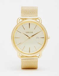 Золотистые часы из нержавеющей стали с сетчатым браслетом Breda Linx