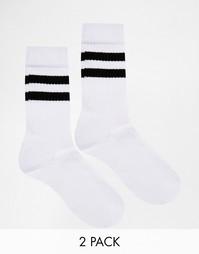 2 пары полосатых спортивных носков ASOS - Белый