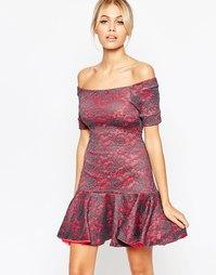 Кружевное платье с открытыми плечами и оборкой по подолу Hedonia Tulis