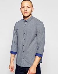 Поплиновая рубашка с геометрическим принтом Dickens and Browne