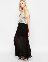 Платье макси с накладным топом Style London - Кремовый
