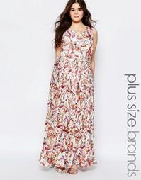 Платье макси с цветочным принтом и складками Lovedrobe Plus - Принт