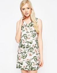 Платье с тропическим цветочным принтом Style London - Кремовый