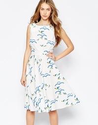 Платье миди с флокированным птичьим принтом Trollied Dolly Royally Ret