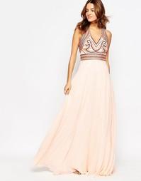 Платье макси с отделкой бисером Forever Unique Isabel - Peach