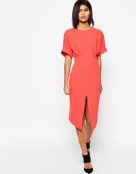 Платье с разрезом спереди ASOS - Коралловый