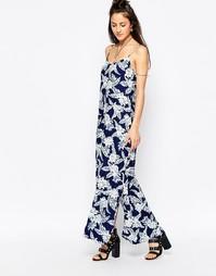 Платье макси с принтом Motel Carri - Темно-синий георгин