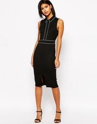 Платье-футляр с воротником и окантовкой ASOS - Черный