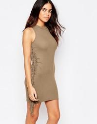 Облегающее платье с кисточками AX смParis - Мокка